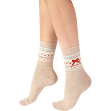 Pretty Polly Christmas Fairisle Xmas Socks Oatmeal/Mix OS