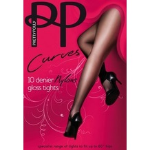Pretty Polly Curves 10D Nylons Gloss Tights Black XL
