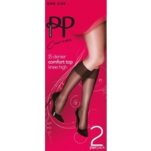Pretty Polly Curves 15D Comfort Top Knee Highs - 2 Paar Black OS