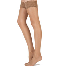 Pretty Polly Day To Night 15D Sheer Lace Top Hold Ups - 2 Paar Sherry ML