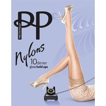 Pretty Polly Nylons 10D Lace Top Hold Ups BarelyBlack - ML