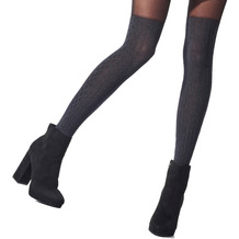 Pretty Polly Premium Fashion Marl Overknee Cable Sock Tights Black OS