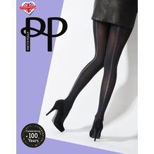 Pretty Polly Premium Fashion Silver Stripe Backseam Opaque Tights Black/Silver OS