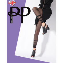 Pretty Polly Premium Fashion Stripe Net Footless Tights Black OS