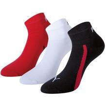 PUMA Lifestyle Quarters (3 Paar) black / white / red 35/38