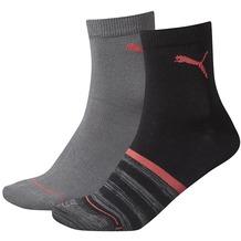 PUMA Run Free Stripe Short Sock (2 Paar) Women Caviar / hot coral 35