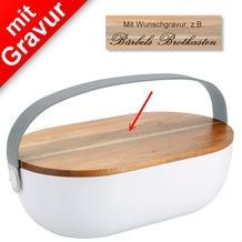 PURESIGNS Brotkasten PANE mit Holzdeckel MIT GRAVUR (z.B. Namen)