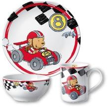 PURESIGNS Kindergeschirr-Set QUICK Auto Rennfahrer 3tlg. aus Porzellan