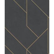 Rasch Tapete Brick Lane 427431 Schwarz, Gold 0.53 x 10.05 m