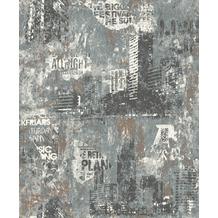 Rasch Tapete Kids & Teens III 821215 Grau, Silber 0.53 x 10.05 m