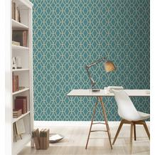 Rasch Tapete Modern Art 309324 Blau, Gold 0.53 x 10.05 m