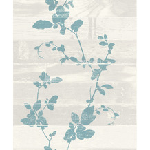 Rasch Tapete Selection Relief/Vlies 488609 Weiß, Silber, Türkis 0.53 x 10.05 m