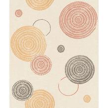 Rasch Tapete Selection Relief/Vlies 634259 Orange, Schwarz, Creme, Braun 0.53 x 10.05 m