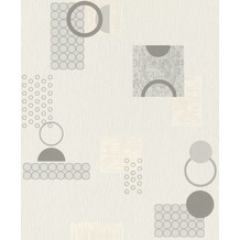 Rasch Tapete Selection Relief/Vlies 809602 Weiß, Beige, Grau 0.53 x 10.05 m