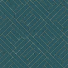 Rasch Tapete Selection Vinyl/Vlies 404135 Blau, Gold 0.53 x 10.05 m