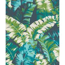 Rasch Tapete Yucatán 535655 Türkis, Weiß, Creme, Grün 0.53 x 10.05 m