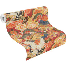 Rasch Vinyltapete Muster & Motive 409345 Kimono Rot-Ziegelrot 0.53 x 10.05 m