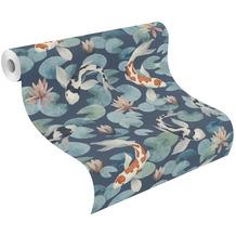 Rasch Vinyltapete Muster & Motive 409444 Kimono Blau-nachtblau 0.53 x 10.05 m