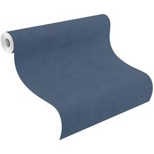 Rasch Vinyltapete Uni 408232 Kimono Blau-nachtblau 0.53 x 10.05 m
