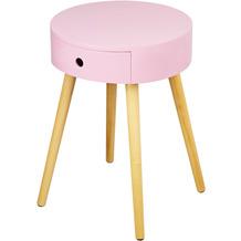 Reality Import Beistelltisch Jerry rosa lackiert Gestell Massivholz mit Schublade