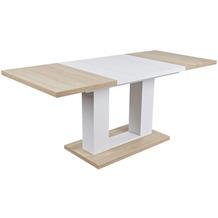 Reality Import Esstisch Holm,sonoma/weiss, Maße: 140-180x80x76cm,Holz-