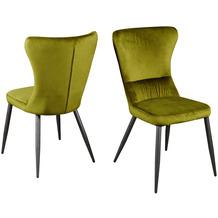 Reality Import Stuhl AGUAS, Gestell schwarz matt, Samtstoff grün,