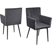 Reality Import Stuhl Monaco Style, Gestell schwarz matt, Samt grau