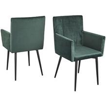 Reality Import Stuhl Monaco Style, Gestell schwarz matt, Samt moosgrün