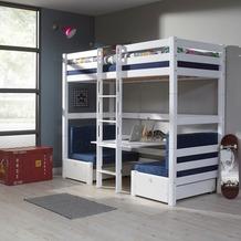 relita Etagenbett FINLEY 90x200 weiß lackiert+ Kissen  blau weiß