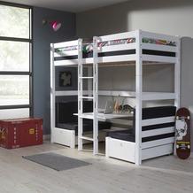 relita Etagenbett FINLEY 90x200 weiß lackiert+ Kissen  schwarz weiß