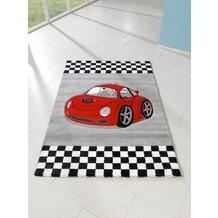 relita Kinderteppich 170x120 grau mit rotem Auto