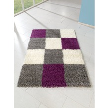 relita Teppich Hochflor 170x120 Karo-Muster purple