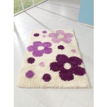 relita Teppich Hochflor 170x120 weiß mit purple Blumen