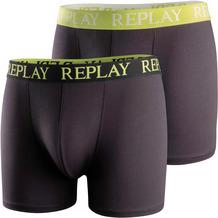 REPLAY BOXER Style 01/C Basic Cuff Logo 2 Stück Box black/lime green L