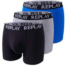 REPLAY BOXER Style 01/C Basic Cuff Logo 3 Stück Box black/grey melange/turquoise L