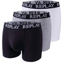 REPLAY BOXER Style 01/C Basic Cuff Logo 3 Stück Box black/grey melange/white L