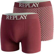 REPLAY BOXER Style 7 Cuff Logo&Print 2 Stück Waterfall pack bordeaux/light grey L