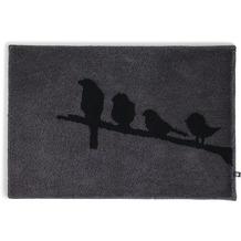 RHOMTUFT Badteppich BIRDS zinn/schwarz 50 x 65 cm