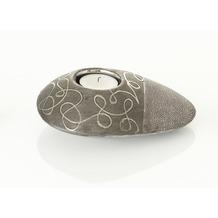 Ritzenhoff & Breker Teelicht Keramik 16x13x5cm oval NIA grau silber