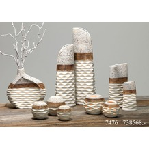 Ritzenhoff & Breker Windlicht Keramik 11x11x9cm Bauchig NAPOLI braun weiß