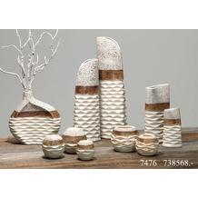 Ritzenhoff & Breker Windlicht Keramik 13x13x11cm Bauchig NAPOLI braun weiß