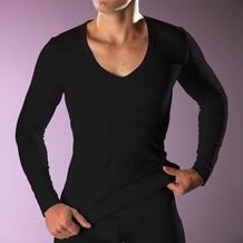 RJ Bodywear RJ men's Stretch Cotton tiefem V-Ausschnitt T-Shirt Langarm, schwarz XL
