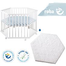 Roba Bundle 'roba Style' inkl. 6-eckigem Laufgitter weiß und Laufgittermatratze, schadstoffgeprüft blau