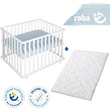 Roba Bundle 'roba Style' inkl. Laufgitter 4eckig weiß und Laufgittermatratze, schadstoffgeprüft türkis