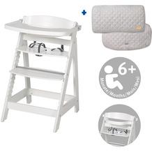 Roba Bundle roba Style mitwachsender, weißer Treppenhochstuhl und silbergrauer Sitzverkleinerer 10,5