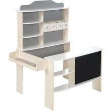 Roba Kaufladen, Holz natur,weiß/grau lackiert, 4 Schubladen, Tafel, Theke & Seitentheke