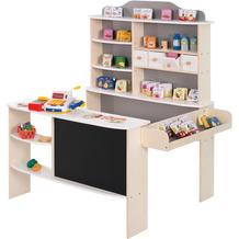 Roba Kaufladen, inkl. Zubehör, natur, weiß/grau, 4 Schubladen, Tafel, Theke & Seitentheke