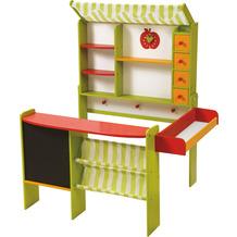 Roba Kaufladen 'Marktstand', grün/rot, mit Theke, Tafel, Seitentheke, Markise, Kasse & Zubehör