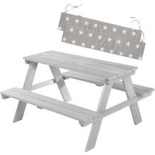 Roba Kinder Outdoor+ Sitzgruppe 'Picknick for 4' mit Sitzkissen, wetterfest aus Massivholz, grau