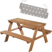 Roba Kinder Outdoor+ Sitzgruppe 'Picknick for 4' mit Sitzkissen, wetterfest aus Massivholz in teak